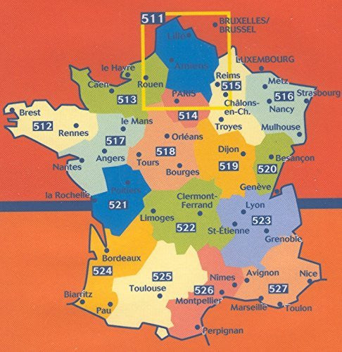 Michelin Map No. 514: Ile de France, Paris, Rouen, Orleans and Surrounding Area, Scale 1:200,000 (including street map of Paris) (French Edition)