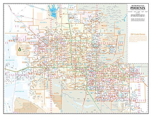 Metropolitan Phoenix Arterial and Collector Streets Gloss Laminated Desktop Map
