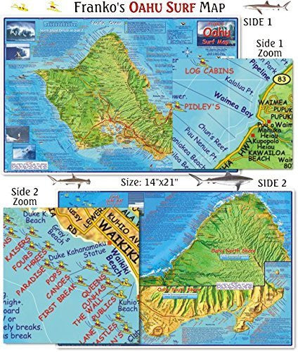 Oahu Surfing Guide - Franko's Maps - Wide World Maps & MORE! - Office Product - Franko Guides - Wide World Maps & MORE!