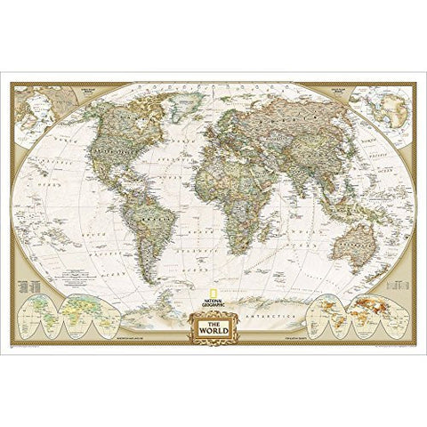 World Executive Enlarged Wall Map, Dry Erase Laminated - Wide World Maps & MORE! - Map - National Geographic Maps - Wide World Maps & MORE!