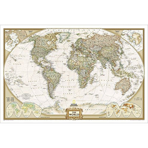 us topo - Atlantic-Centered World Executive Political Standard Wall Map Satin Laminated - Wide World Maps & MORE! - Book - Wide World Maps & MORE! - Wide World Maps & MORE!