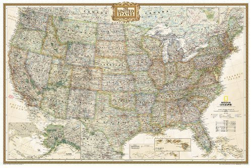 United States Executive Poster Size Wall Map (tubed) by National Geographic Maps 2012 Edition (1/1/2012)