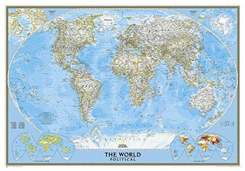 us topo - World Classic Political Wall Map (Satin Lamination) - Wide World Maps & MORE! - Book - Wide World Maps & MORE! - Wide World Maps & MORE!