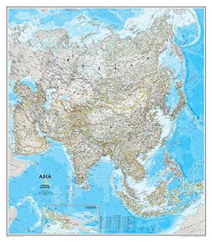 "Asia Classic Wall Map Map Type: Standard Size Laminated (38""H x 34""W)"