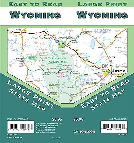 Wyoming Large Print, Wyoming Regional Map