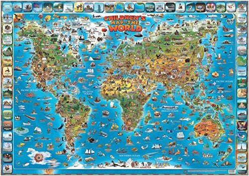us topo - Children's Map of the World Educational Poster Laminated Poster 54 x 38in - Wide World Maps & MORE! - Home - ROUND WORLD PRODUCTS - Wide World Maps & MORE!