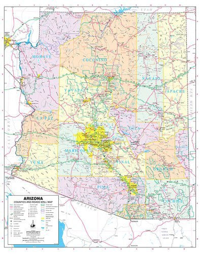 us topo - Arizona Counties and Roads Small Wall Map Dry Erase Laminated - Wide World Maps & MORE! - Map - Wide World Maps & MORE! - Wide World Maps & MORE!