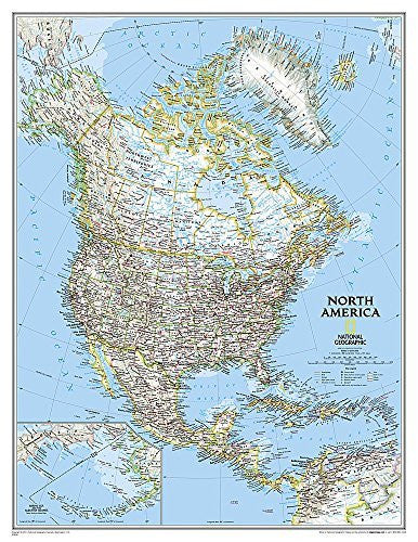 North America Classic [Enlarged and Tubed] (National Geographic Reference Map)