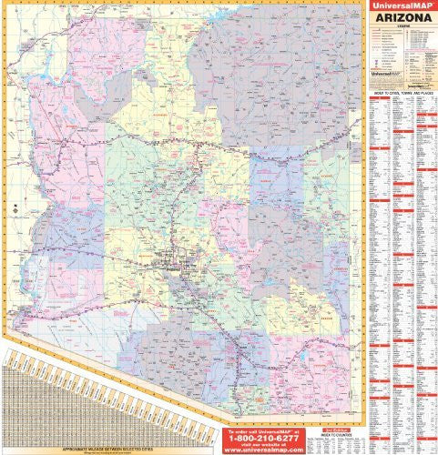 Arizona Wall Map - 56 x 60 - Laminated on Roller