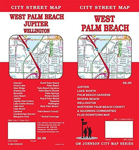 us topo - West Palm Beach / North Palm Beach County, Florida Street Map - Wide World Maps & MORE! - Map - G.M. Johnson - Wide World Maps & MORE!
