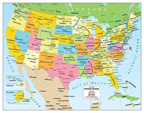 Colorful Political United States Wall Map Gloss Ready-to-Frame