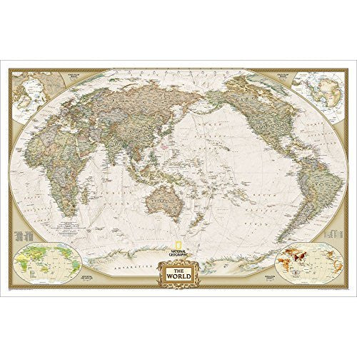 Executive World, Pacific Centered, Satin Laminated Wall Map