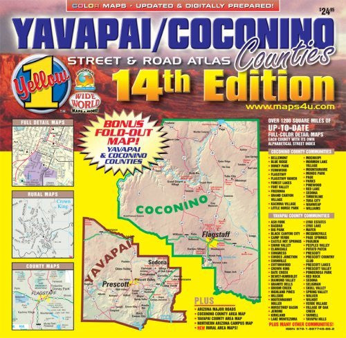 Yavapai & Coconino Counties Standard Edition Street & Road Atlas (Yellow1)