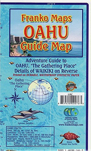 us topo - Oahu Hawaii Adventure Guide Franko Maps Waterproof Map - Wide World Maps & MORE! - Book - FrankosMaps - Wide World Maps & MORE!