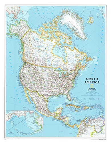 North America Political Map Poster 24 x 30in