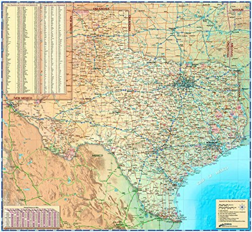 "Decorative TEXAS Physical/Shaded Wall Map *Laminated* 36""x39"" Beautiful"