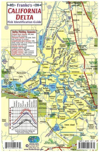 California Delta Map & Fish Guide Franko Maps Laminated Fish Card