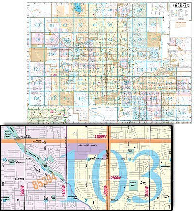 Phoenix Metropolitan Area Wall Map Gloss Laminated