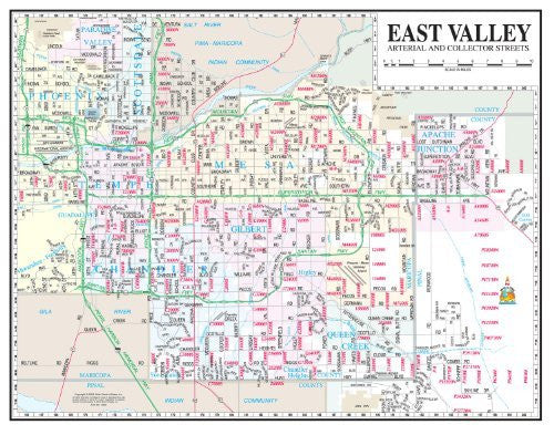 us topo - East Valley Arterial and Collector Streets Desk Map Gloss Laminated - Wide World Maps & MORE! - Book - Wide World Maps & MORE! - Wide World Maps & MORE!