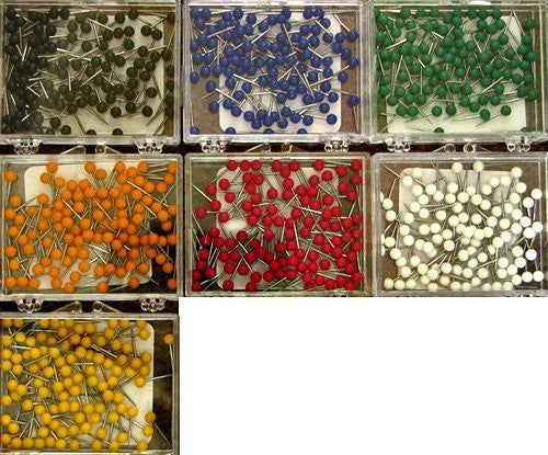 1/16 Inch Map Tacks - Complete Set of All 7 Colors