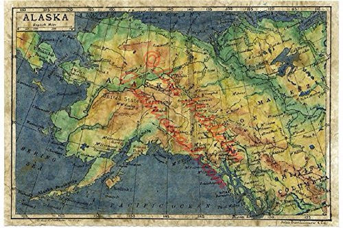 "Alaska 1906 Easy-to-frame 11x14"" Reproduction of a Hand-painted Map By Lisa Middleton"