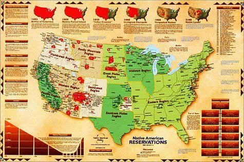 Native Americans Reservations Wall Map Laminated Wide World Maps - Map-of-reservations-in-us