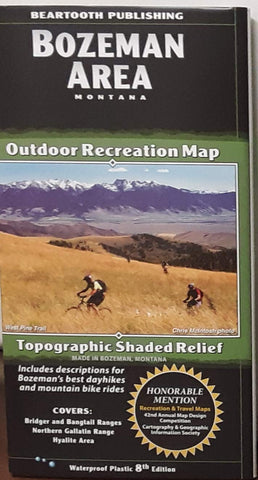 Bozeman Montana Area Outdoor Recreation Map - Topographic Shaded Relief 8th Edition