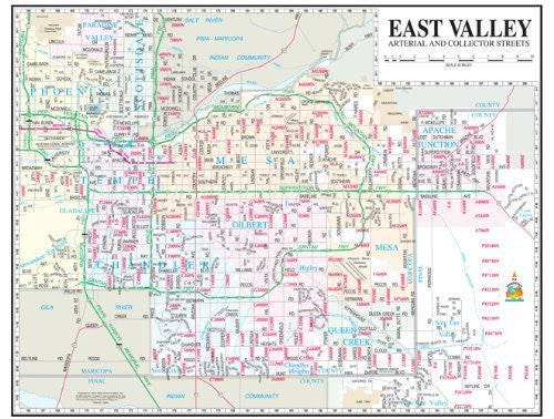 East Valley Arterial & Collector Streets Wall Map Dry Erase Laminated