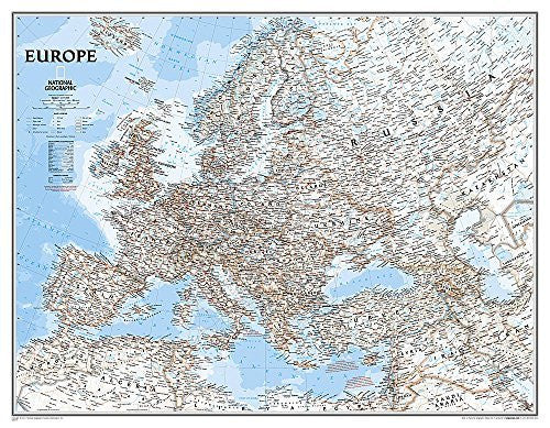 Europe Political Wall Map (enlarged & tubed)