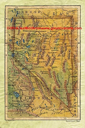 "Map of Nevada 1906, Hand-painted Reproduction, 11"" X 14"""