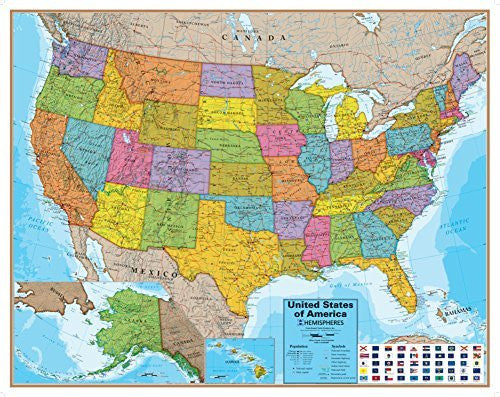 Hemispheres Blue Ocean USA Wall Map, Laminated Educational Poster Laminated Poster 48 x 38in