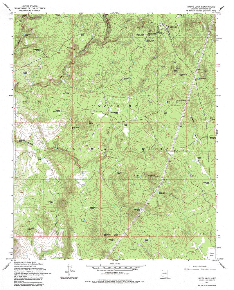 us topo - Happy Jack, AZ (7.5'×7.5' Topographic Quadrangle) - Wide World Maps & MORE! - Map - Wide World Maps & MORE! - Wide World Maps & MORE!
