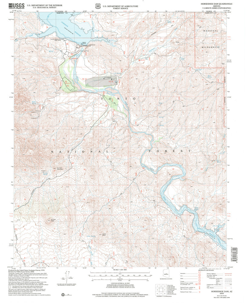 us topo - Horseshoe Dam, Arizona  (7.5'×7.5' Topographic Quadrangle) - Wide World Maps & MORE! - Map - Wide World Maps & MORE! - Wide World Maps & MORE!