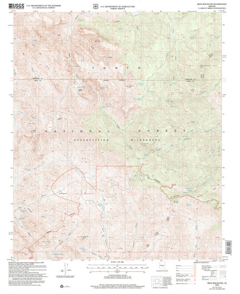 us topo - Iron Mountain, AZ 7.5' - Wide World Maps & MORE! - Map - Wide World Maps & MORE! - Wide World Maps & MORE!