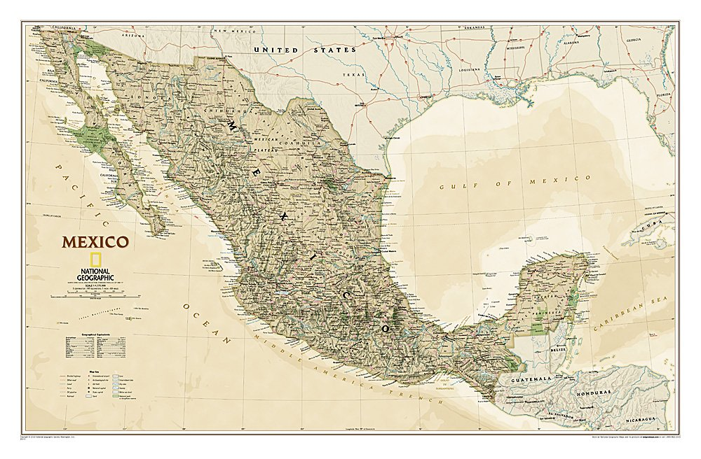 Mexico Executive Wall Map (34.5 × 22.75 inches) (National Geographic Reference Map)