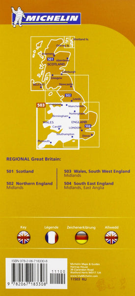 England Southwest, Midlands, Wales - Michelin Regional Map 503