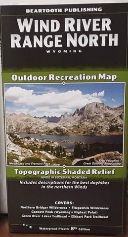 Wind River Range North Outdoor Recreation Map - Topographic Shaded Relief 8th Edition