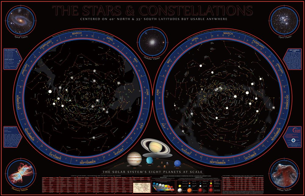 Hemisphere Wonders of The Solar System Space Chart - Wide World Maps & MORE! - Toy - Hemisphere - Wide World Maps & MORE!