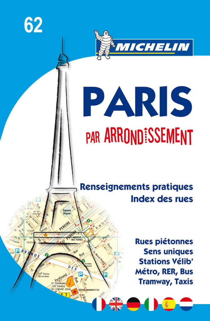 Michelin Map Paris by Arrondissements (saddle-stitched) No. 62 (Maps/City (Michelin)) - Wide World Maps & MORE! - Book - Michelin Travel Publications - Wide World Maps & MORE!