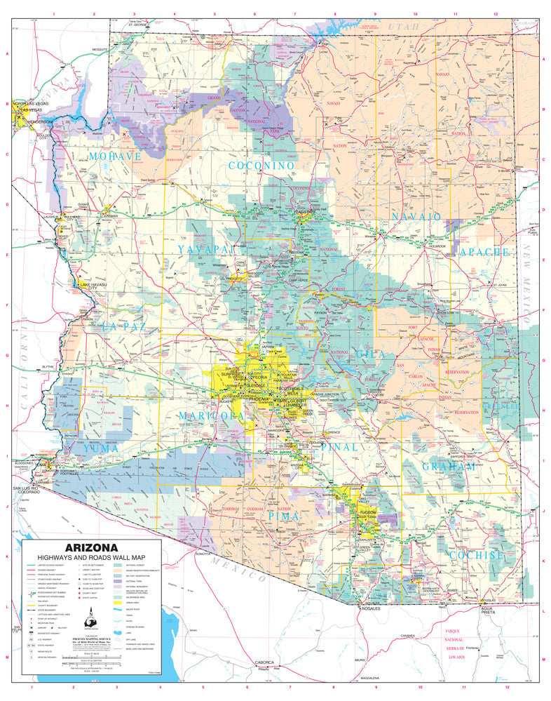 us topo - Arizona Highways and Roads Large Wall Map Ready-to-Hang - Wide World Maps & MORE! - Map - Wide World Maps & MORE! - Wide World Maps & MORE!