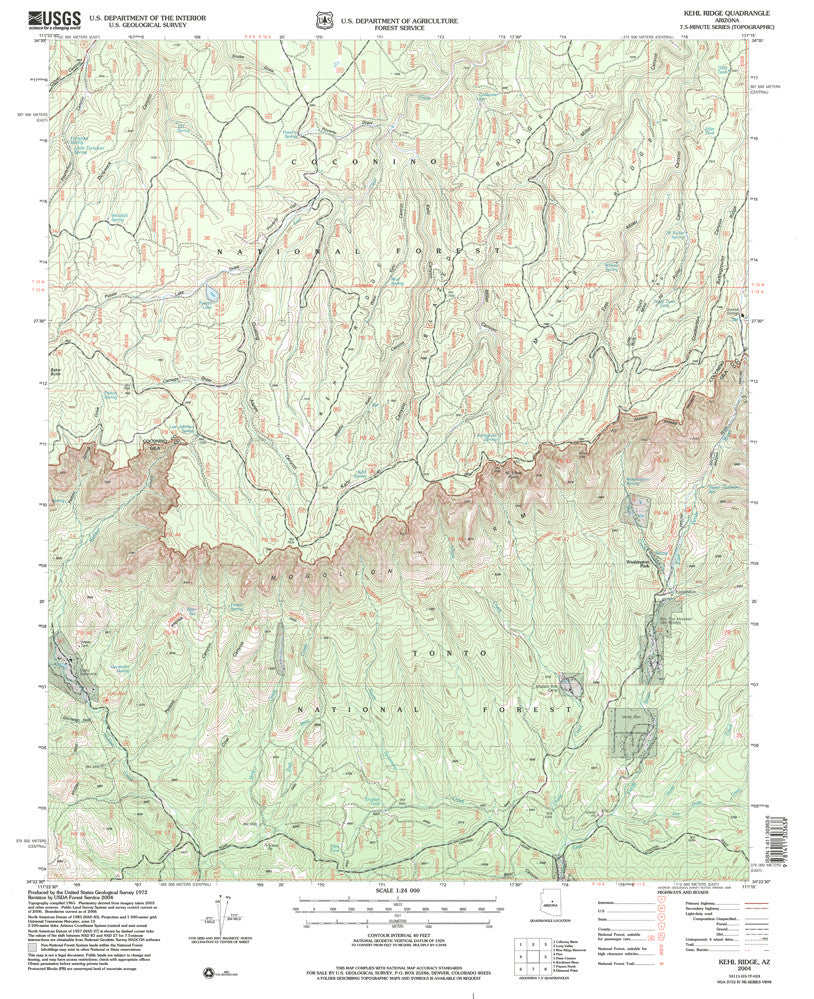 us topo - Kehl Ridge, AZ (7.5'×7.5' Topographic Quadrangle) - Wide World Maps & MORE! - Map - Wide World Maps & MORE! - Wide World Maps & MORE!