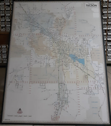 Metropolitan Tucson Arterial and Collector Streets ZIP Codes Dry Erase Laminated Wall Map