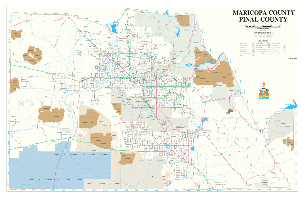 Maricopa County · Pinal County Wall Map Paper/Non-Laminated [Map] [Jan 01, 2015] Phoenix Mapping Service