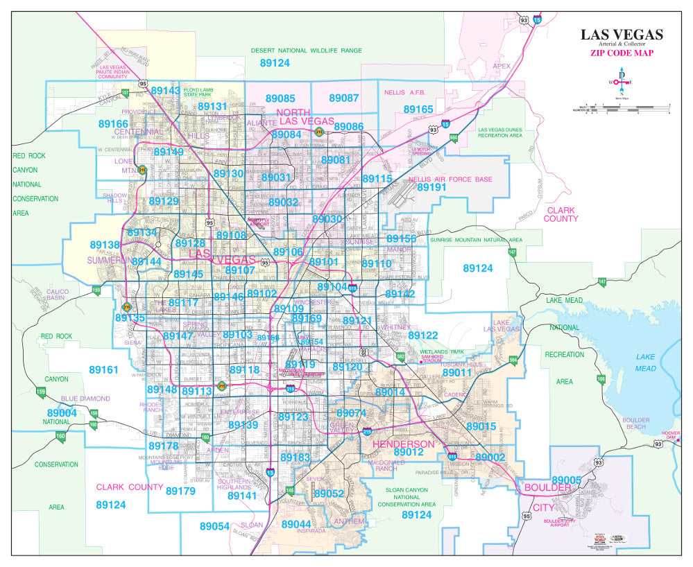 Las Vegas Arterial & Collector ZIP Code Wall Map Paper, Non-Laminated - Wide World Maps & MORE! - Map - Wide World Maps & MORE! - Wide World Maps & MORE!