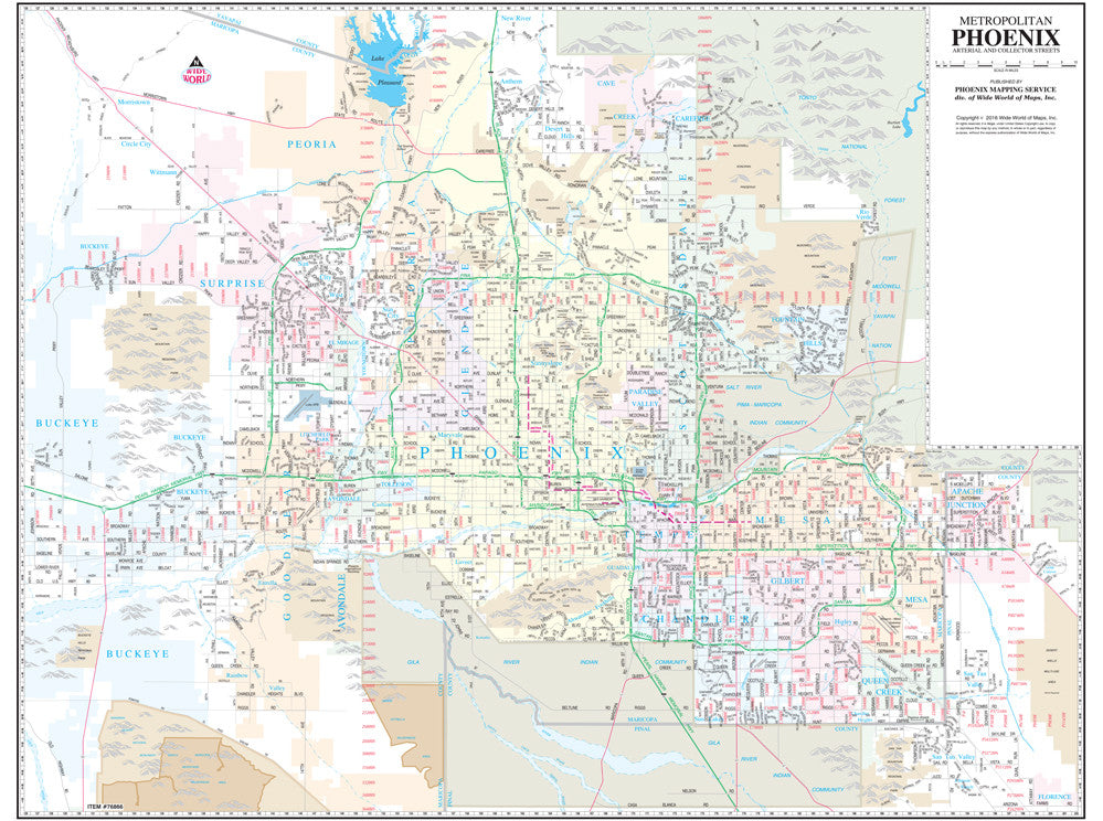 Metropolitan Phoenix Arterial and Collector Streets Small Wall Map