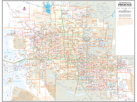 us topo - Metropolitan Phoenix ZIP Code Arterial and Collector Streets Small Wall Map Dry Erase Laminated - Wide World Maps & MORE! - Map - Wide World Maps & MORE! - Wide World Maps & MORE!