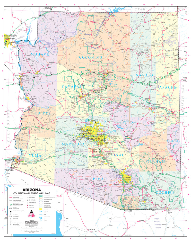 Arizona Counties and Roads Large Wall Map Dry Erase Ready-to-Hang on