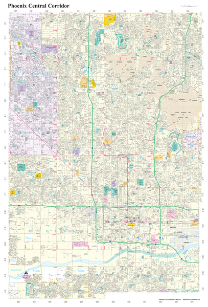 Phoenix Central Corridor Dry Erase Laminated - Wide World Maps & MORE! - Map - Wide World Maps & MORE! - Wide World Maps & MORE!