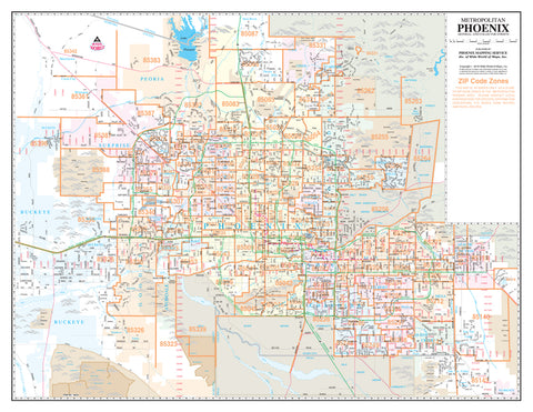 Metropolitan Phoenix ZIP Code Arterial and Collector Streets Desktop Map Gloss Laminated
