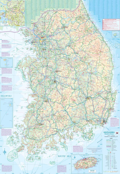 Korea North and South Travel Reference Map 1:830K/1:550K (Waterproof)